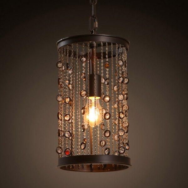 Vintage Style Metal Cylinder Shade Glass Bead One-Light Pendant Light
