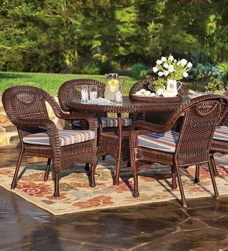 "Prospect Hill Weather-Resistant Outdoor Resin Wicker Oval Dining Table With Powder-Coated Aluminum Frames 72""L X 42""W X 30""H, In Chocolate by Plow & Hearth. $999.95. Choose from selected colors. Has umbrella hole, bottom shelf and inset glass top. Outdoor oval dining table. Solidly constructed with powder-coated aluminum frames. Weather-resistant PVC resin wicker. Our Prospect Hill Oval Dining Table is quality constructed of PVC resin wicker, tightly hand woven onto fully ..."