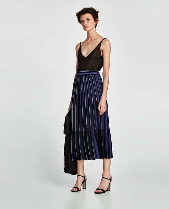 ZARA - WOMAN - LONG STRIPED SHIMMERY SKIRT