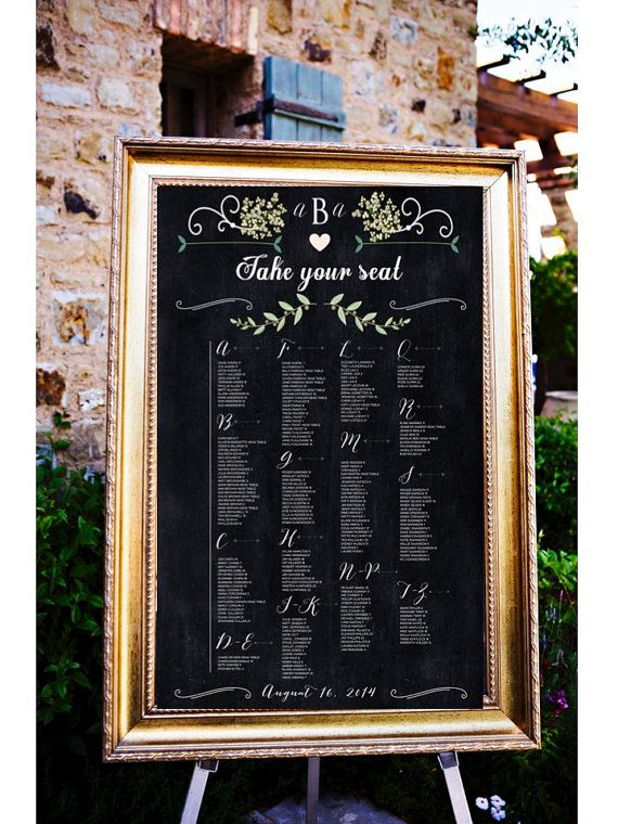 Alphabetical Chalkboard Wedding Table Assignments Board, Table listings by Last Name, Wedding Seating Assignment poster, Wedding Place Cards