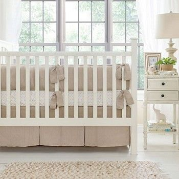 Linen Crib Bedding | Washed Linen in Flax Baby Bedding Collection