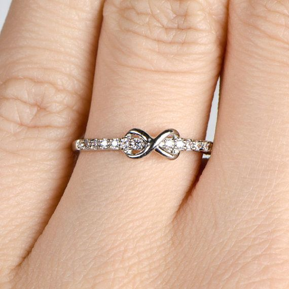 cute!! CZ Silver Infinity Charm Petite Stackable Ring Band by KnLBoutique, $25.00