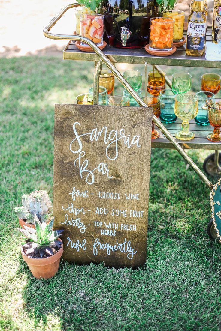 Sangria Bar Signage | Event Sign and Decor | Cinco De Mayo Fiesta | Cocktail Hour | Bar Cart set up