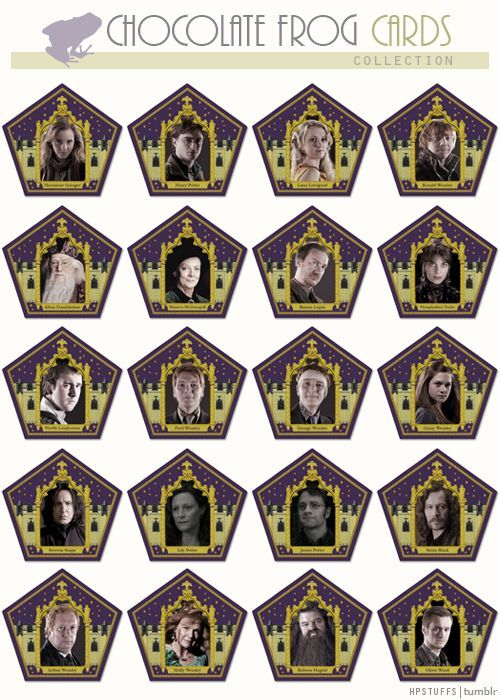 Harry Potter Chocolate frogs cards: