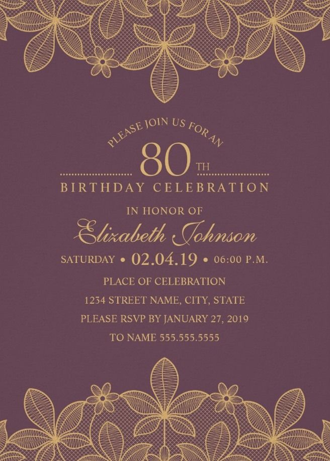 golden lace wine red 80th birthday invitations elegant luxury