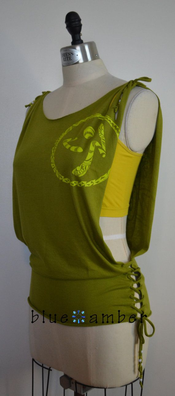 Open Side Lace Up Beaded Tank - Cut Slashed Refashioned Upcycled Peace & Love Tribal Print Dance Fitness T Shirt