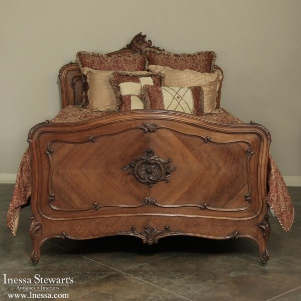 Antique Furniture | Antique Bedroom Furniture | Beds | 19th Century French  Walnut Rococo QUEEN Bed - 986 Best Antique Bedroom Furniture / Beds Images On Pinterest