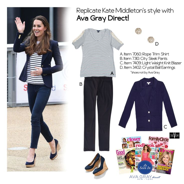 Replicate Kate Middleton's outfit with Ava Gray Direct! Try our Roped Trim Top with our Navy Blazer and City Sleek Pants  #AvaGrayDirect #FashionTips #StyleGuide #ootd