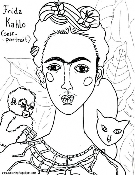 Frida kahlo coloring pages sketch coloring page for National hispanic heritage month coloring pages