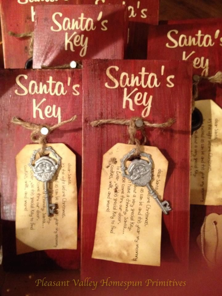 """Santa's Key! Since we don't have a chimney and my daughter will probably ask """"How will Santa get inside?"""", I can make one of these with a [fake] """"magic"""" key (which you can find at craft stores) and set it outside next to our front door for Santa. That way my daughter won't be worried about whether or not Santa will be able to get inside."""