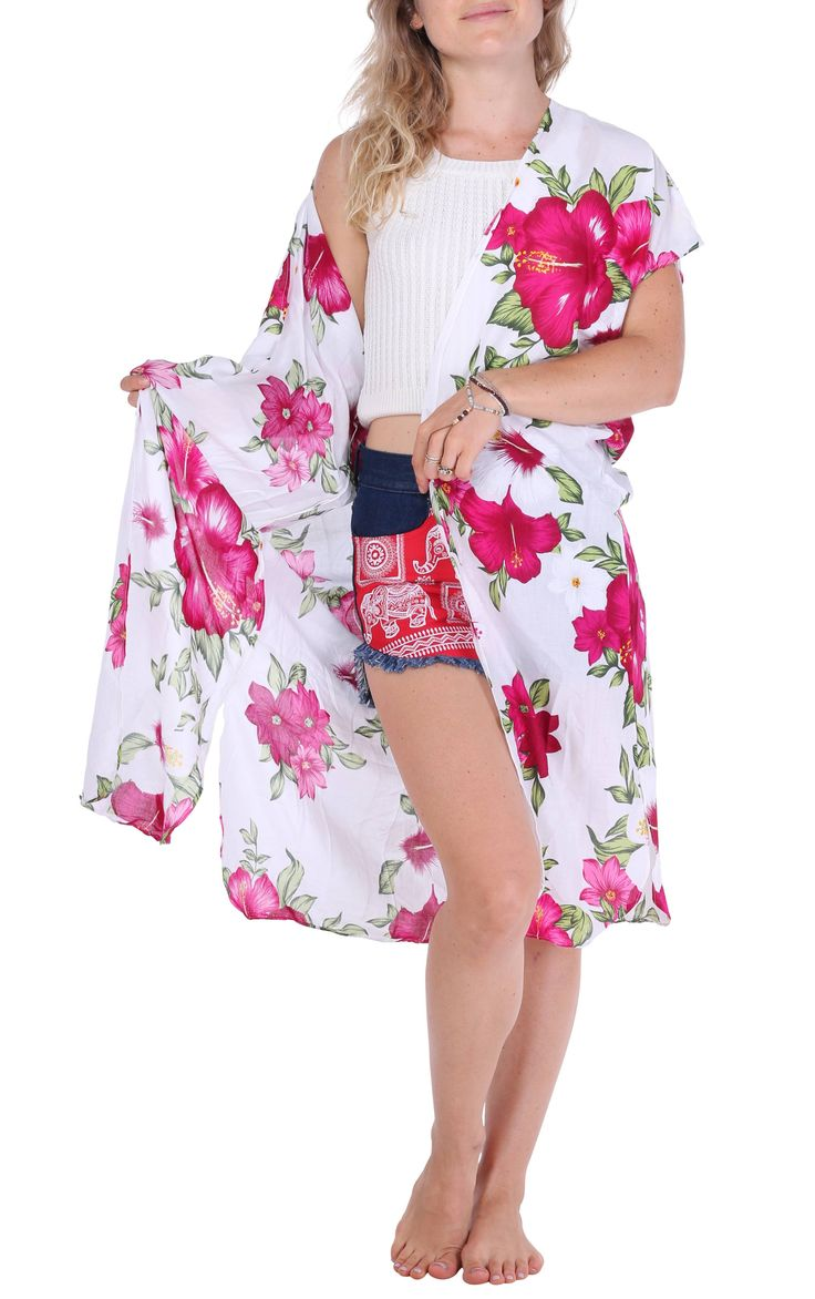 Pink & White Floral Kimono