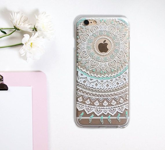 Transparent Mandala Flower Tatoo iPhone 6 6S Phone by GreenyView