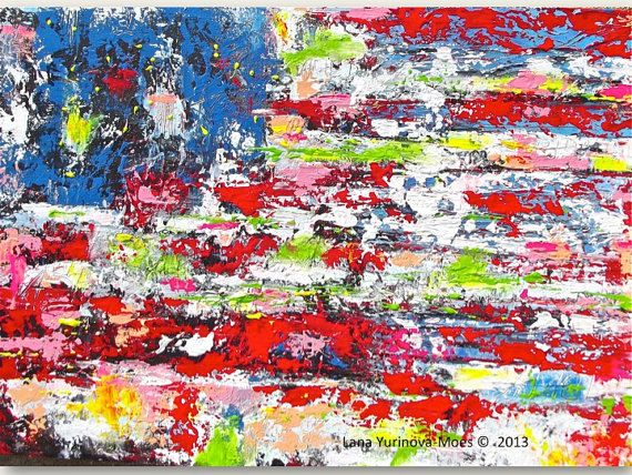 """United"" by Lana Moes- Large American Flag Abstract Print on Canvas by lanasfineart"
