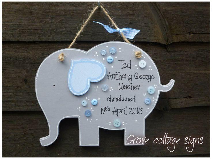 Cute elephant www.grovecottagesigns.co.uk #handmade #grovecottage #hernebay #christening #gift #woodengifts #cute