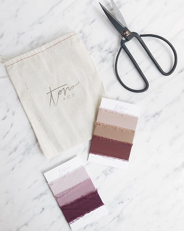 Loving these dreamy hand dyed silk ribbons from @tonoandco . + branding & packaging on point •