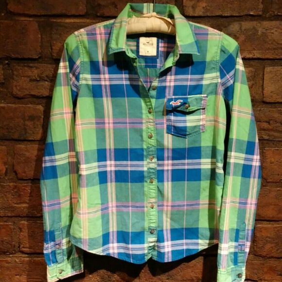 Hollister green and blue button up shirt Colorful button up shirt. Size medium. Hollister Tops Button Down Shirts
