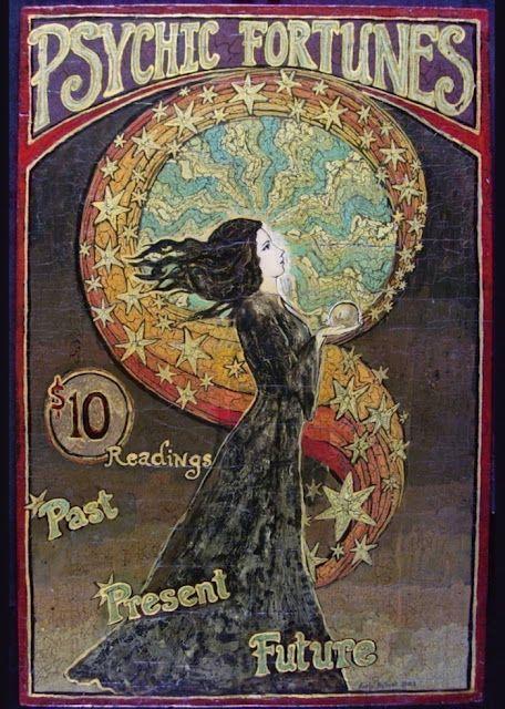 Art Nouvea print of Tarot and fortune tellers #magic