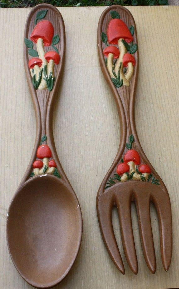 Vintage Mushroom Spoon and Fork Wall Decor by PastToPresentVintage, $12.50