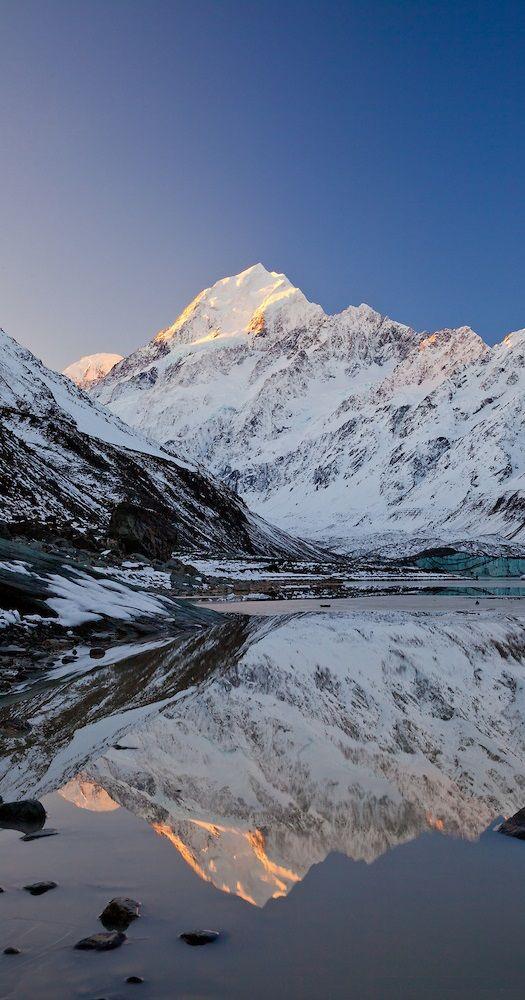 Mount Cook- Aoraki, reflected in Hooker Lake, South Island, New Zealand