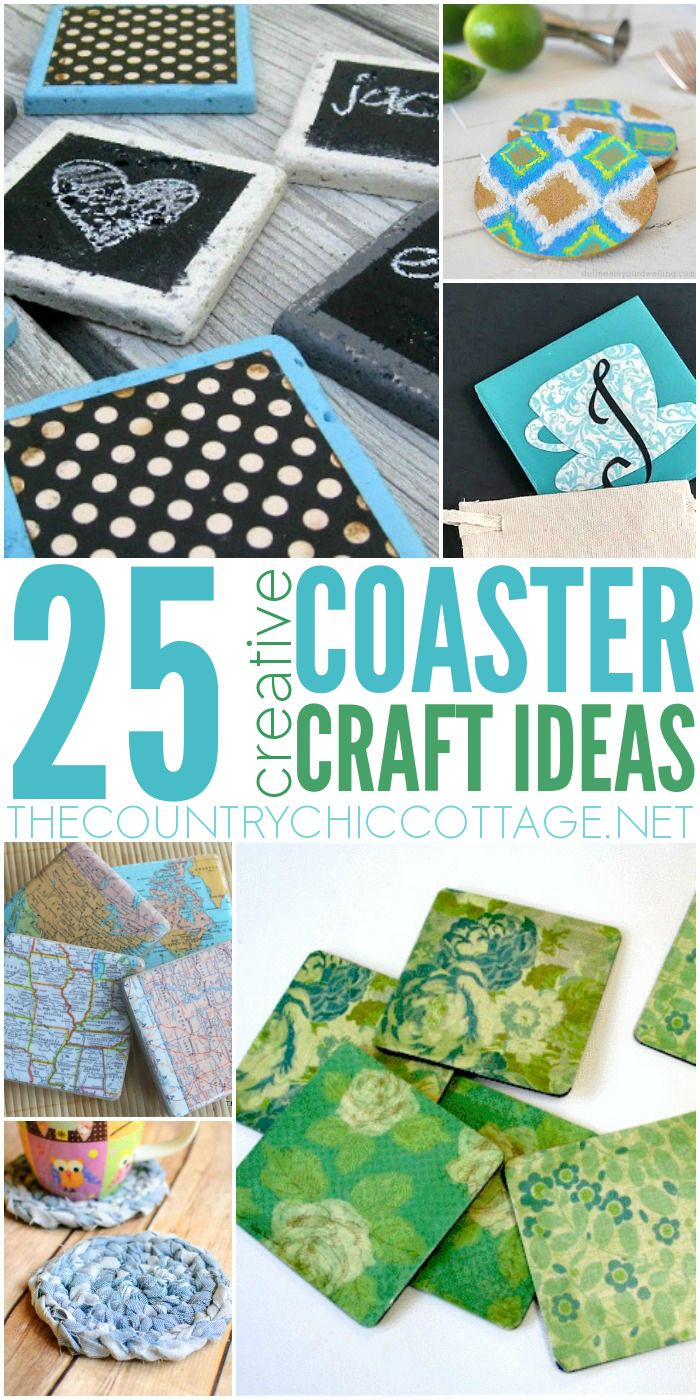 25 Coaster Crafts - * THE COUNTRY CHIC COTTAGE (DIY, Home Decor, Crafts, Farmhouse)