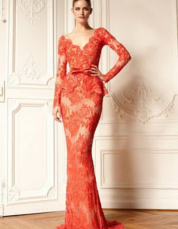 Red lace wedding dress