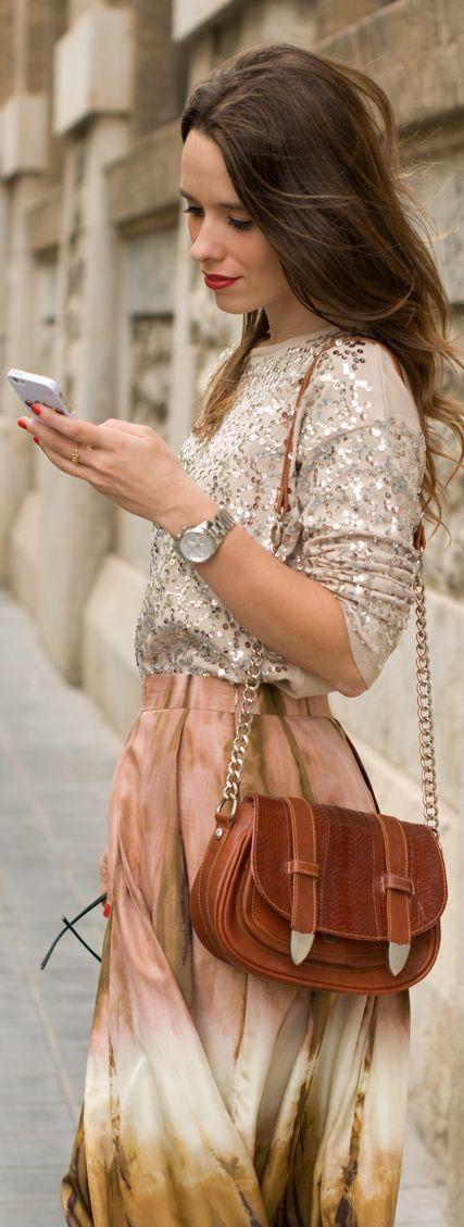 Sequined Skirt + Tie Dye Jumper by Macarena Gea