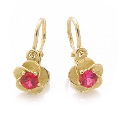 Dětské náušnice z růžového zlata červený kamínek 030.00002