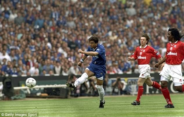 Roberto Di Matteo fires his shot after 43 seconds to set Chelsea on the way to the FA Cup