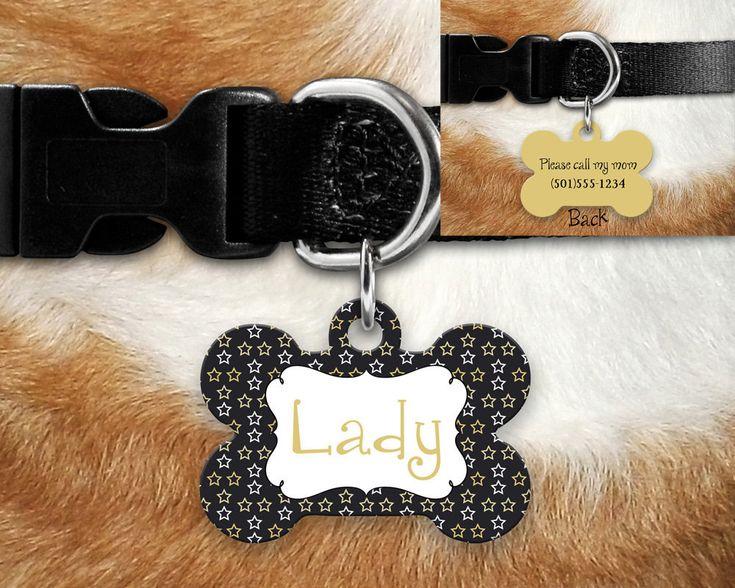Black Gold Stars Dots Pet Tag Dog Tag, ID tag, 2 sided pet tag, personalized pet tag, aluminum pet tag, bone shape tag, custom pet tag by TwoDandelionsDesigns on Etsy