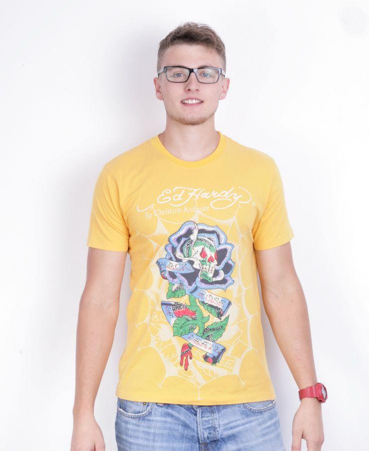 Ed Hardy Mens L Shirt Yellow Crew Neck Christian Audigier