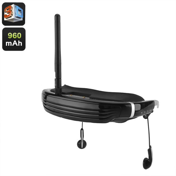 FPV Goggles - 68 Inch Virtual Display, 3D Support, AV In, Wireless Connectivity, 200m Range, 960mAh