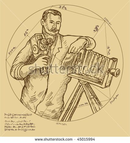 vector Hand sketch illustration of Vintage Photographer holding video camera made to look like it was done by a Renaissance  artist.  #photographer #drawing #illustration