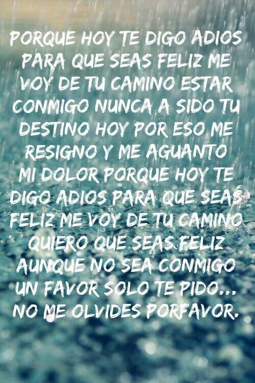 Hoy te digo adios, no porque quiera, sino porque debo/tengo que hacerlo  :'(..pero no me olvides por favor...