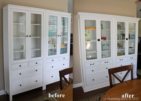 "Great idea... IKEA hack: two Hemnes glass door with drawers cabinets--""we removed the base molding on our wall, attached the two cabinets with carriage bolts to make one cabinet, added a new backing, crown to the top, and wrapped the whole thing with new base moldings to give it a custom built-in look. "" GORGEOUS!! {A Charming Nest}"
