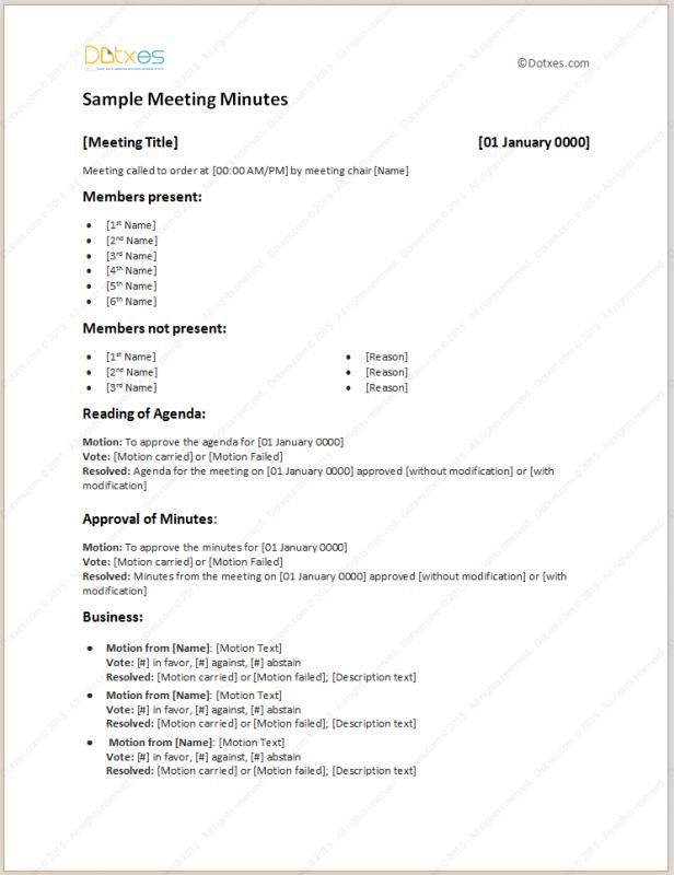 Example Of Meeting Minutes Meeting Agenda Template Agenda
