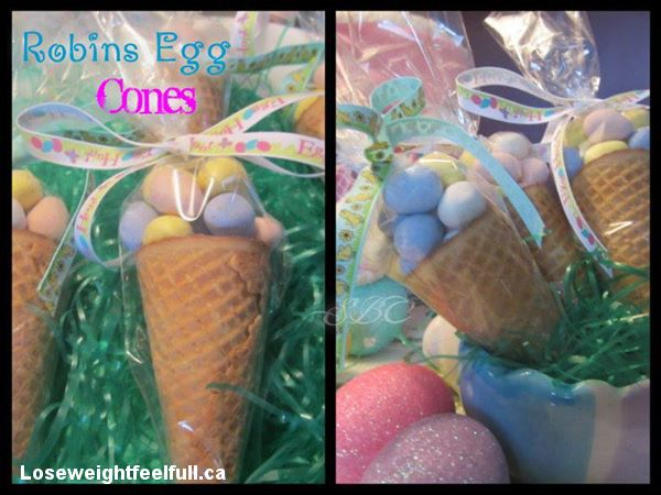 Robins Egg Cones (Please click on photo and share to your timeline)  Ingredients: 1 bag of Cadbury mini chocolate eggs ( can use jelly beans also) Ice cream cones Wilton pretzel bags in clear Ribbon  Directions: Place cone in clear bag and fill with Chocolate Eggs or Jelly beans and tie a ribbon around the top and then use clear tape to attach any edges of the bag at the bottom of the cone.  Please add me as a friend  on FaceBook Donna S