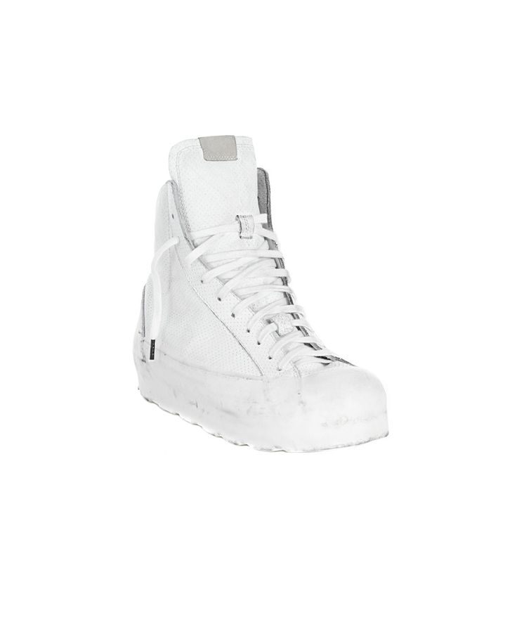 O.X.S. RUBBER SOUL WOMEN'S LEATHER LACE-UP SNEAKERS White leather sneakers worn out look round toe rubber sole inner zipper  fabric lace-up closure
