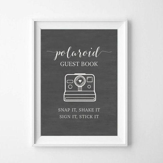 Invite your loved ones to snap, shake, stick and sign a polaroid photo to your creative guest book with this instant download sign. Perfect for weddings, showers and parties!  NOTE: This is a digital file, available for download immediately after check out. SIZE: High resolution JPG and PDF files in 8 x 10 and 5 x 7  HOW TO: - Add this item to your cart and check out. Download file in desired size, print and cut. Easy!  If you need a different size, color or other customizations, please get…