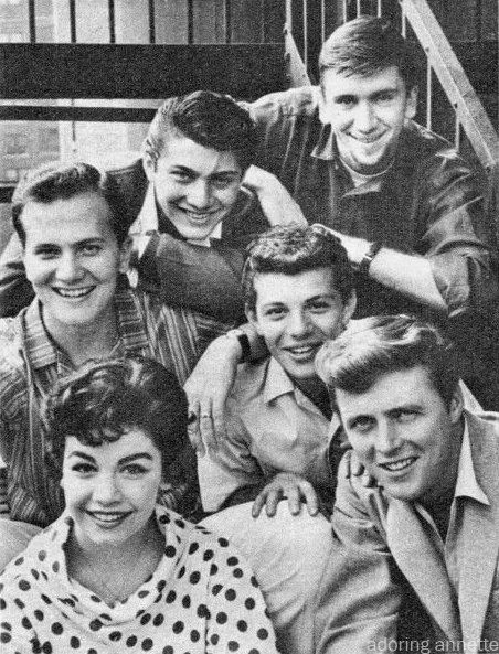 Annette Funicello, Edd Byrnes, Frankie Avalon, Pat Boone, Paul Anka and Bob Denver, 1960.