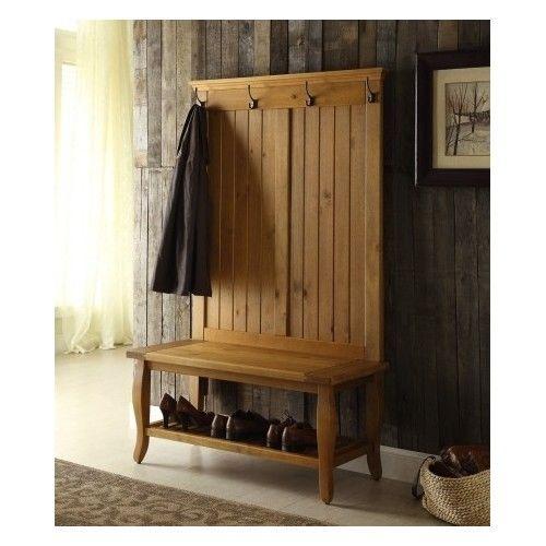 Traditional-Hall-Tree-Umbrella-Storage-Bench-Shoe-Rack-Halltree-Furniture-Trees