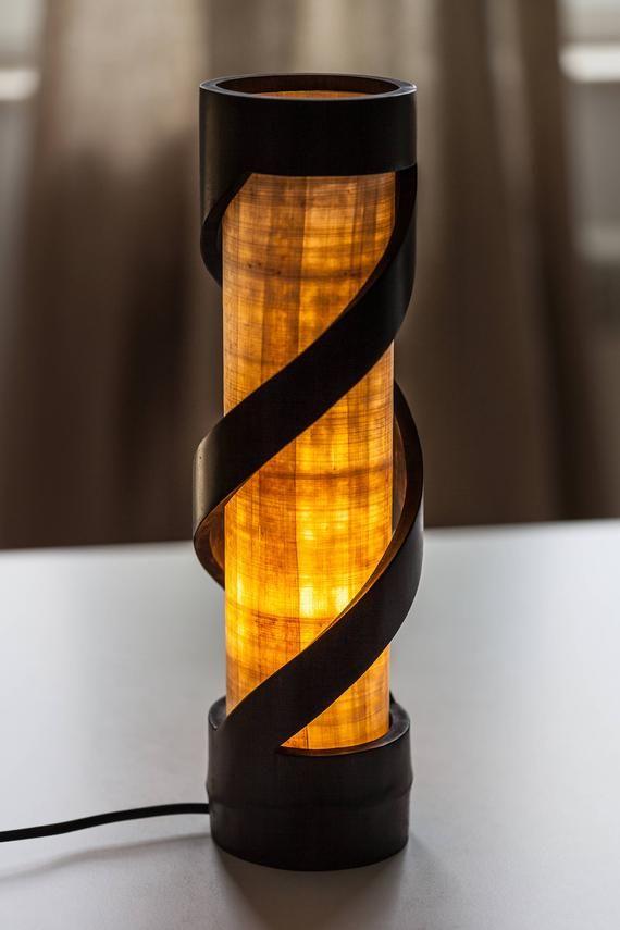 Wood Lamp Bamboo Light Night Lamp Stand Lamp Desk Lamp Etsy Dengan Gambar Lampu Kayu Bambu