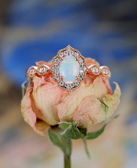 Opal Engagement Ring Vintage Engagement Ring Rose Gold Diamond Wedding Oval Rose Gold Engagement Ring Vintage Rose Engagement Ring Vintage Opal Engagement Ring