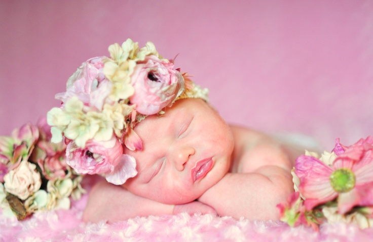 Liahna's baby girl Newborn pictures photography photo shoot flower band pink idea  by~Monica Bailey Photography