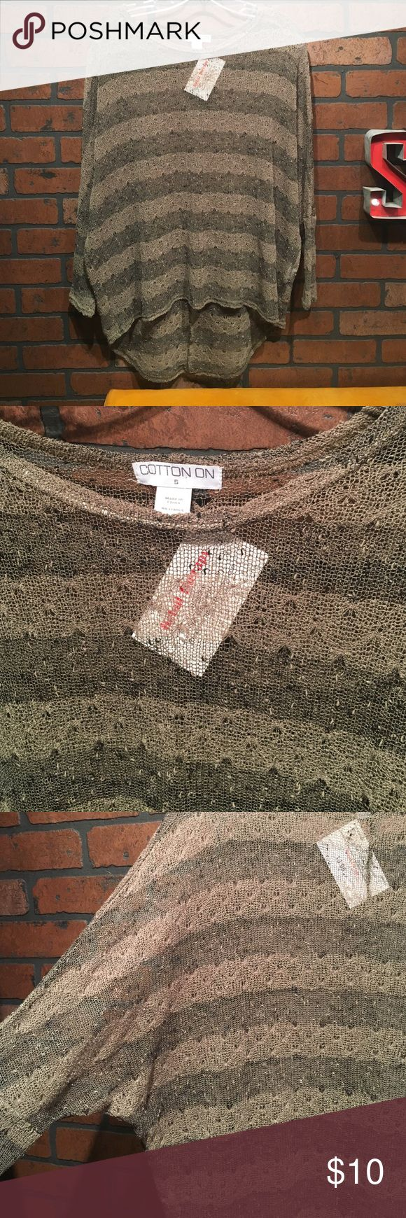 Cotton On light mesh top Super light and comfy! Olive green color! Brand New without tags Cotton On Tops