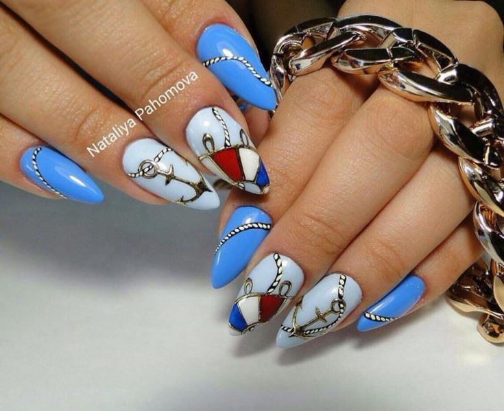 Anchor nails, Beach nails, Sea anchor nails, Sea nails ideas, Summer nails ideas, Summer sea nails