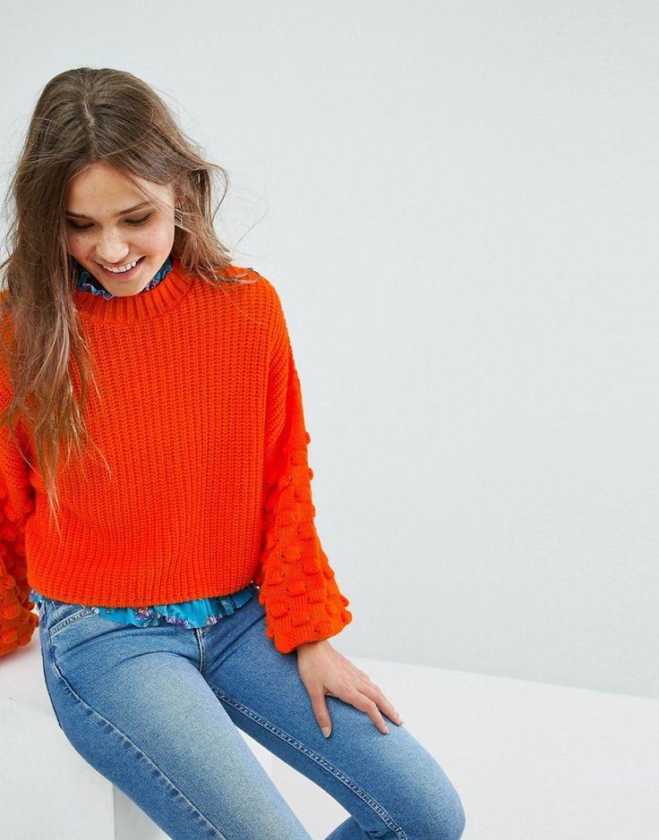 Miss Selfridge Balloon Sleeve Bobble Cable Knit Sweater - Orange