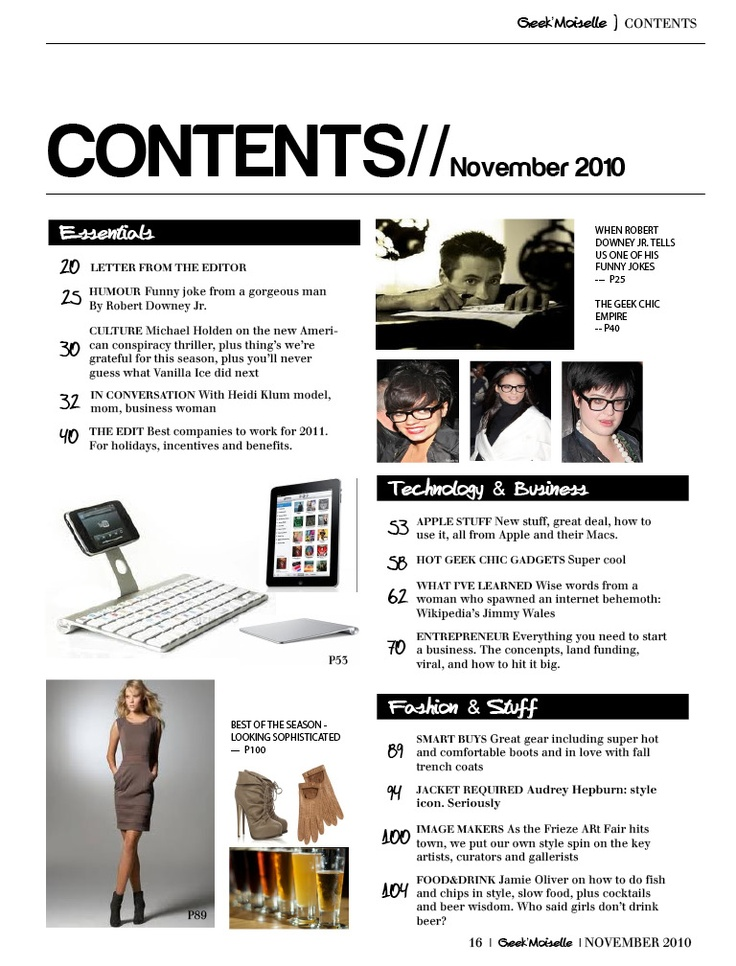 magazine contents page layout