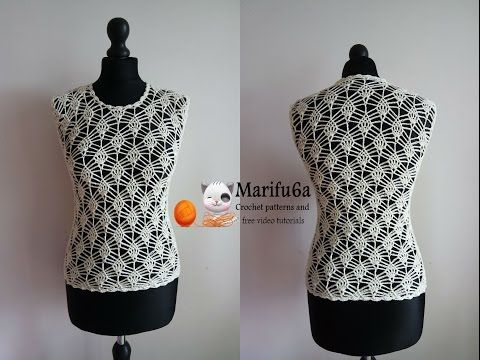 How to crochet pineapple top and blouse free tutorial and pattern para verano by marifu6a - YouTube