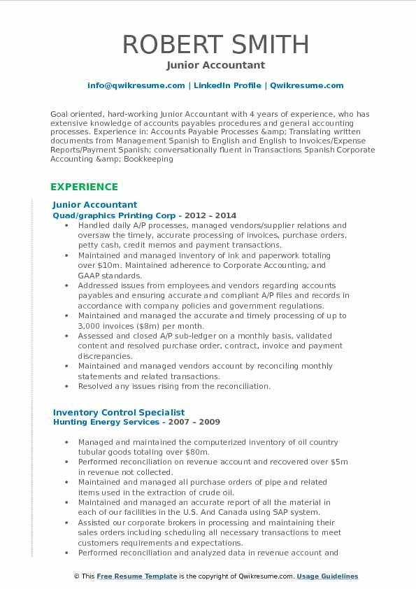 Accountant Resume Format 2019 2020 In 2020 Marketing