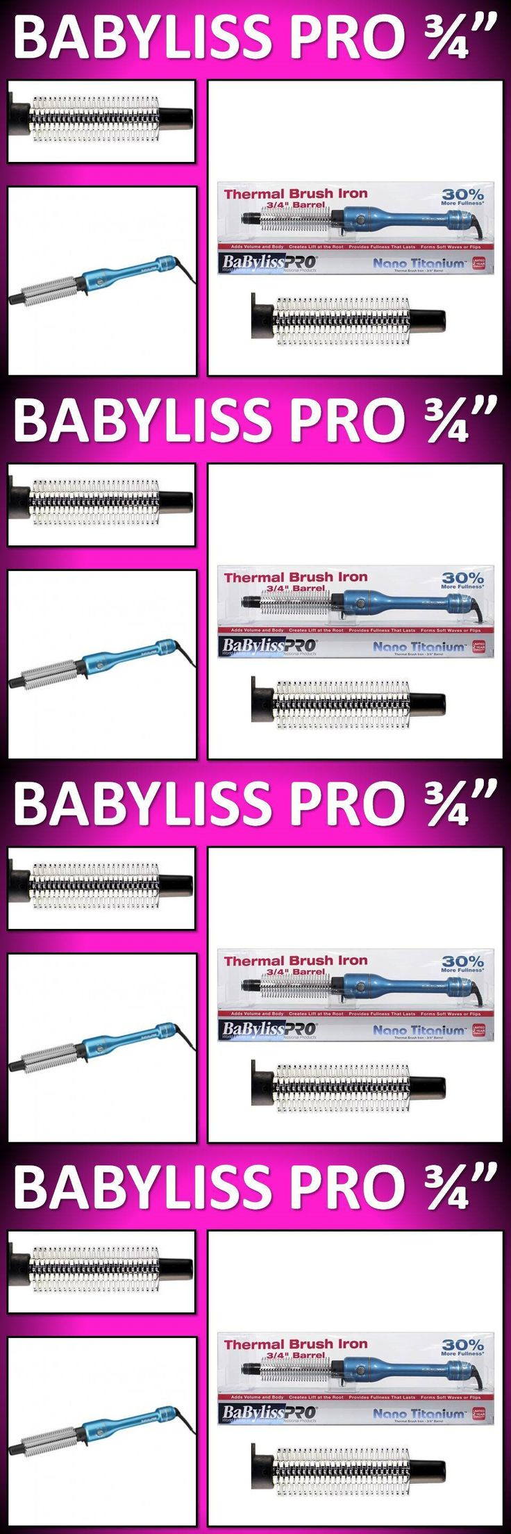 Straightening and Curling Irons: New!! Babyliss Pro Nano Titanium 3/4 Barrel Thermal Brush Iron Volume Amplifier -> BUY IT NOW ONLY: $38.46 on eBay!